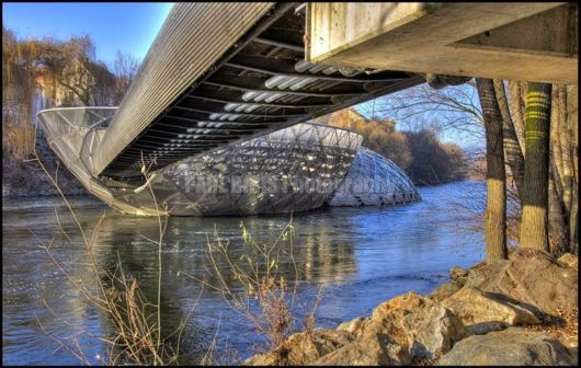 Beautiful Murinsel River Bridge In Austria